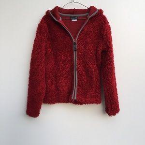 Athleta Hooded Fuzzy Jacket Red Small